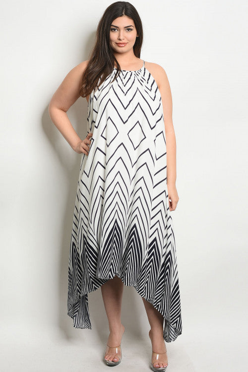 white chevron print plus size maxi dress