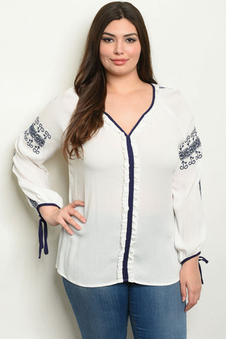 White Embroidered Plus Size Tunic Top
