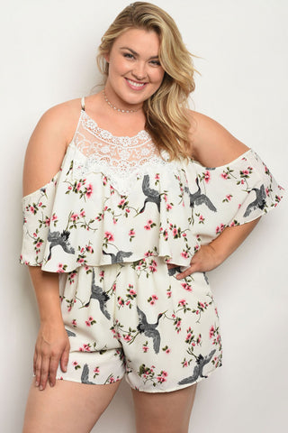White Floral Cold Shoulder Plus Size Romper