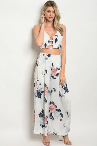 Pink and White Floral Crop Top and Wide Leg Pants Set