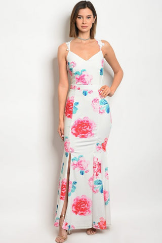 White Floral Lace Accent Curve Hugging Maxi Dress
