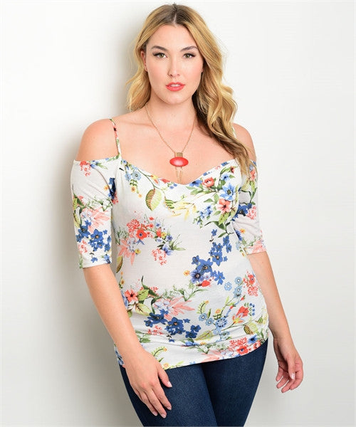 Women's Plus Size White Floral Exposed Shoulder Top