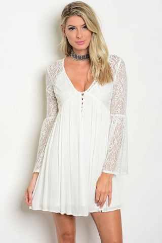 Misses Ivory White Babydoll Peasant Dress