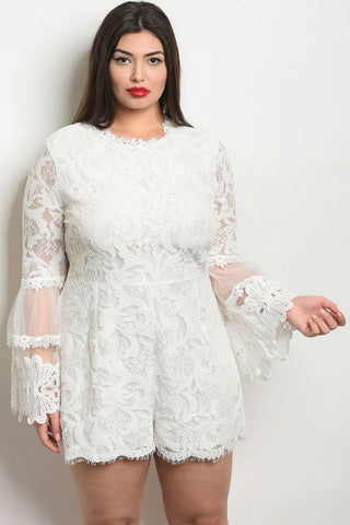 White Lace Bell Sleeve Plus Size Romper