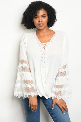 White Lace Accent Bell Sleeve Plus Size Tunic Top