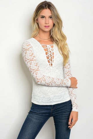 Misses Ivory White Long Sleeve Lace Top
