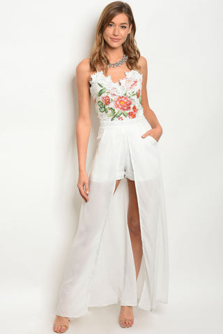 White Embroidered Lace Maxi Dress Romper