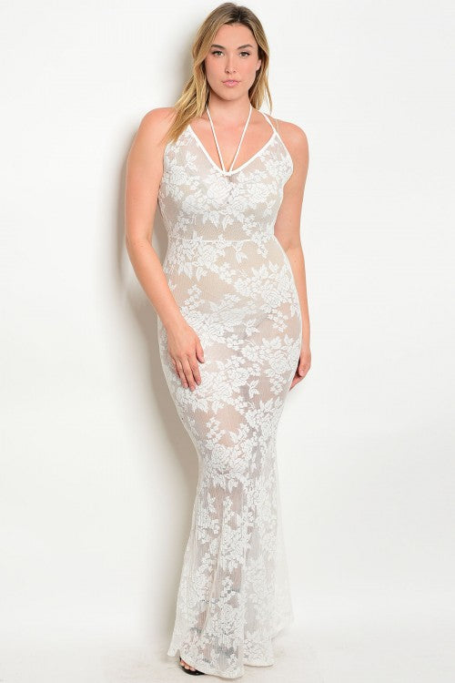 White Lace Overlay with Sheer Accents Plus Size Maxi Dress
