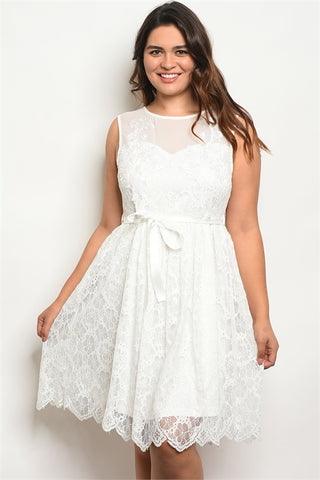 White Lace Sleeveless Plus Size Dress