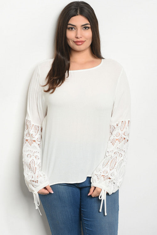 white lace plus size tunic top