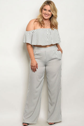 Ivory White Pinstripe Crop Top and Wide Leg Pants Set