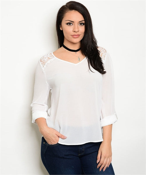 Women's Plus Size Ivory White Chiffon Lace Accent Top