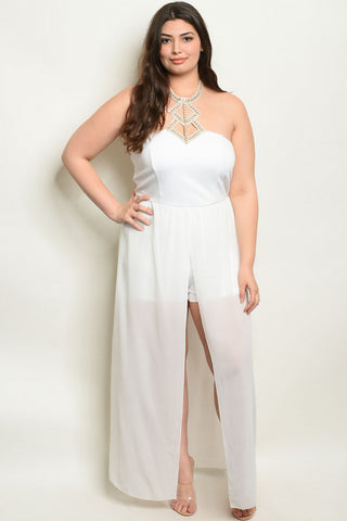White Jeweled Neckline Plus Size Romper Maxi Dress