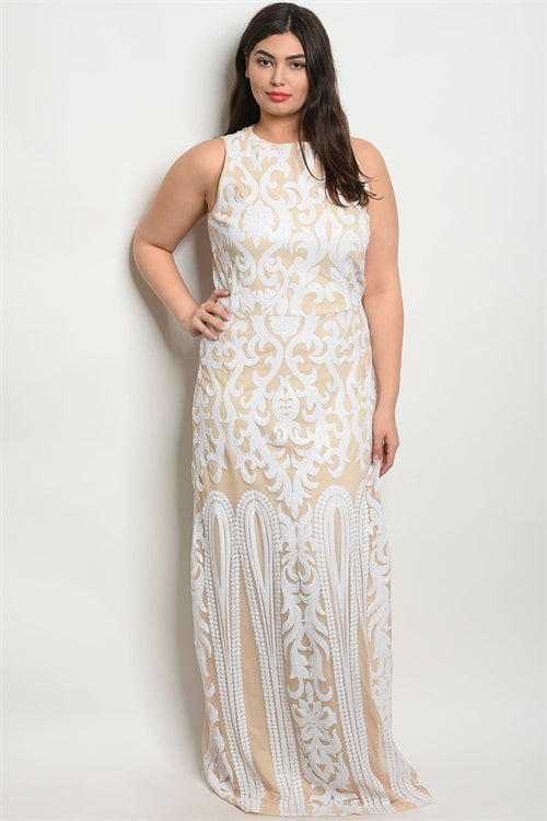 white sequin formal plus size gown