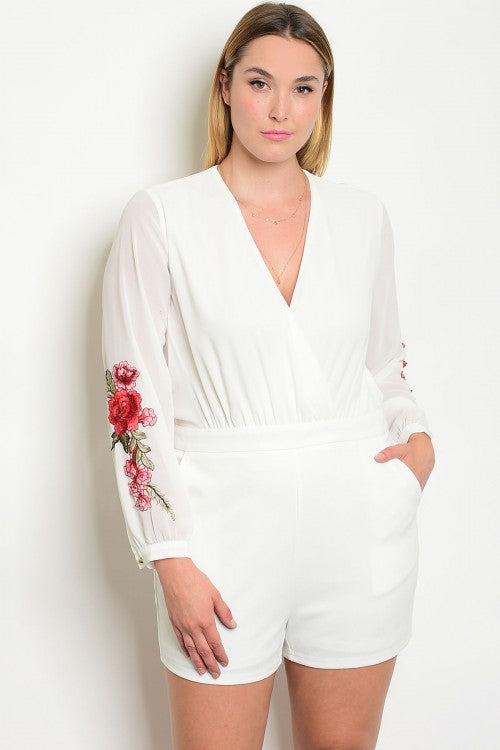 White Floral Plus Size Sheer Sleeve Romper