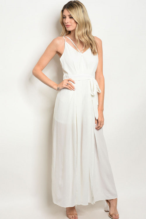 white wide leg jumpsuit