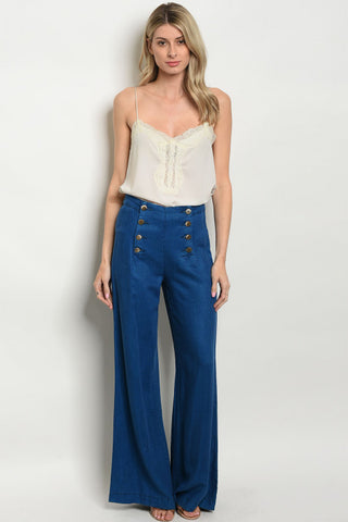 Wide Leg Chambray Denim Pants