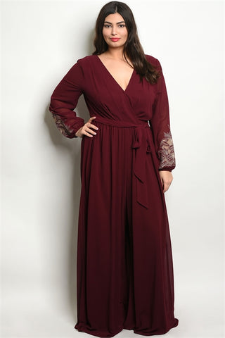 Wine Red Wide Leg Plus Size Jumpsuit