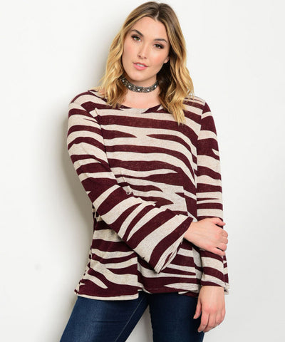 Women's Plus Size Wine Red and Tan Bell Sleeve Sweater Top