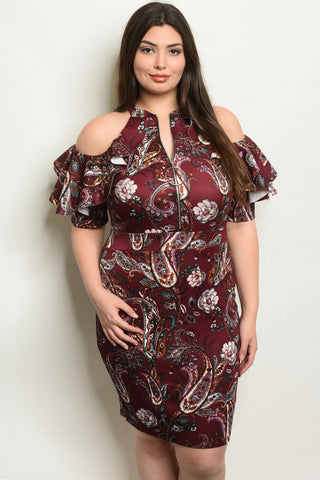 Wine Red Paisley Print Cold Shoulder Plus Size Dress