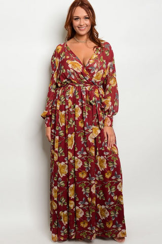 Wine Red and Yellow Floral Chiffon Plus Size Maxi Dress