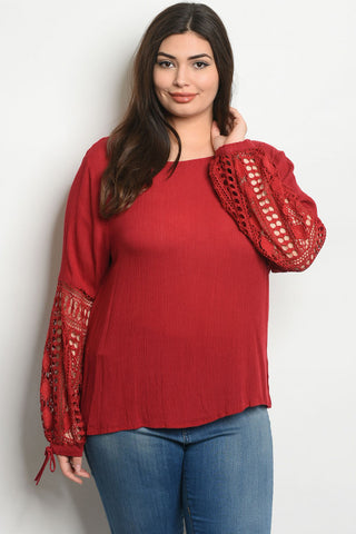 Wine Red Lace Accent Plus Size Tunic Top