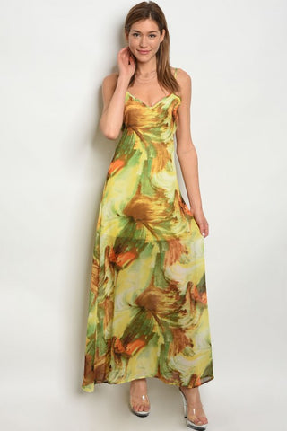 Yellow and Brown Tie Dye Maxi Dress
