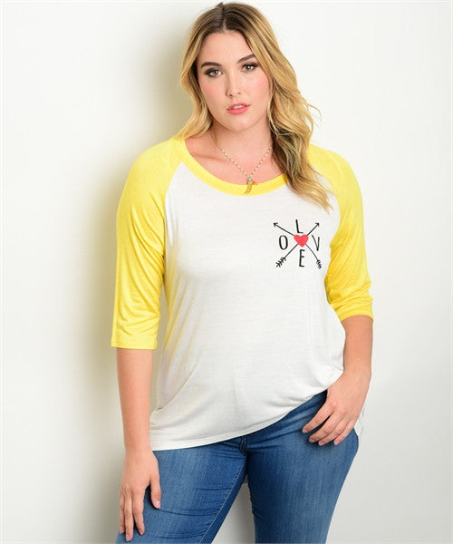 Women's Plus Size Yellow and White Vintage Inspired T-Shirt