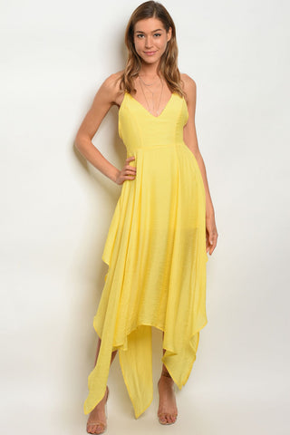 Misses Yellow Asymmetrical Hem Maxi Dress