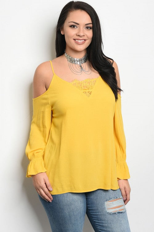 Yellow Cold Shoulder Plus Size Long Sleeve Top