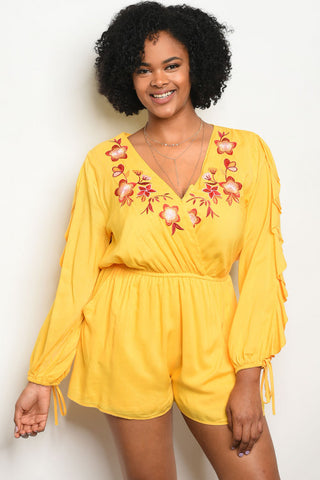 Yellow Ruffled Sleeve Embroidered Accent Plus Size Romper