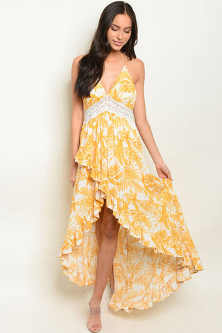 Yellow Floral High Low Maxi Dress