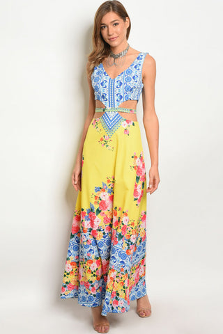 Misses Yellow Floral Peek A Boo Maxi Dress