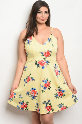 Yellow Floral Plus Size Sun Dress