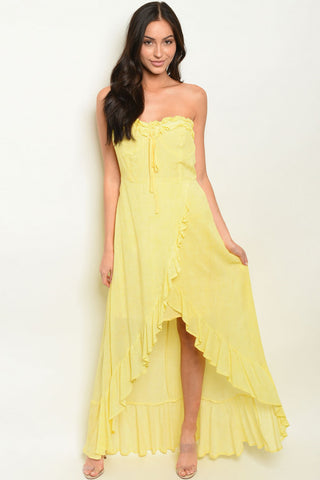Yellow Ruffle High Low Maxi Dress