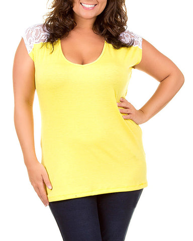 Yelllow Lace Accent Plus Size Tunic Top