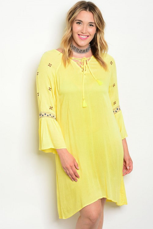 Women's Plus Size Yellow Boho Inspired Tunic Dress