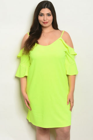 Neon Yellow Plus Size Cold Shoulder Tunic Dress