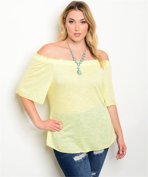 Women's Plus Size Soft Yellow Flutter Sleeve Off Shoulder Top