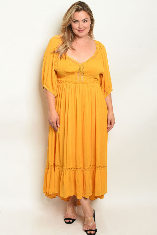 yellow plus size high low maxi dress
