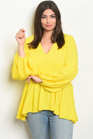 Yellow Long Puffy Sleeve Plus Size High Low Top