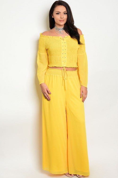 2pc Yellow Boho Inspired Wide Leg Top and Pants Set Plus Size