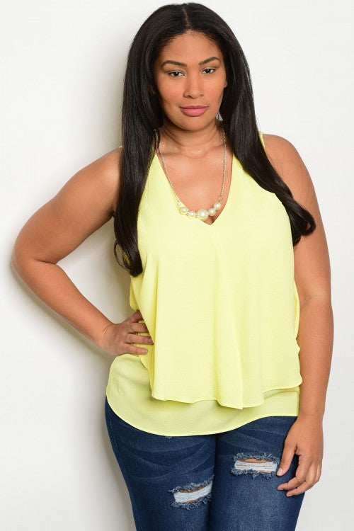 Women's Plus Size Yellow Sleeveless Ruffled Front Top