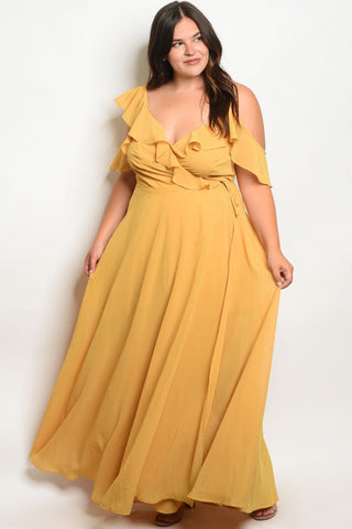 Yellow Ruffled Plus Size Wrap Dress Maxi Dress