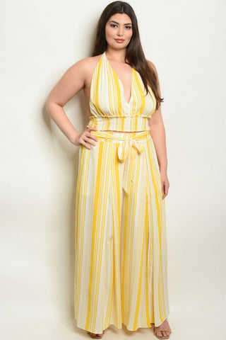 2pc Yellow Stripe Plus Size Palazzo Pants Set