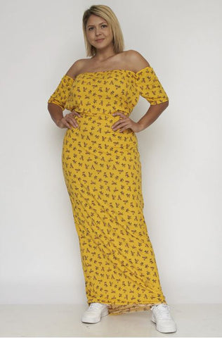 Yellow Floral Plus Size Maxi Dress