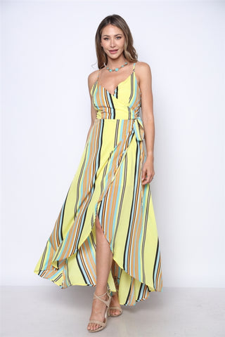 Yellow Stripe Wrap Maxi Dress