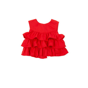 Top rosso bimba con balze - HOPLA' PARMA Baby Collections