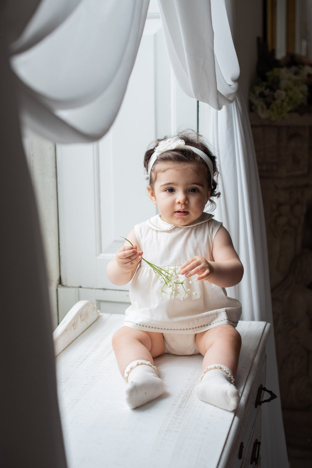 Pagliaccetto bimba NaturaPura/ Voile and jersey rompers with embroidery details - HOPLA' PARMA Baby Collections