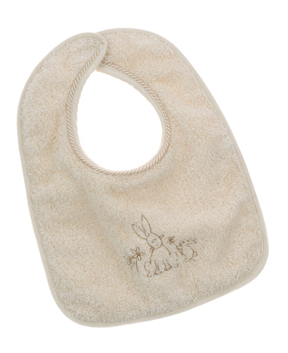 Bavetta prima pappa NaturaPura/ Terry bib with embroidered bunnies - HOPLA' PARMA Baby Collections